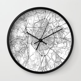 Seville Map White Wall Clock
