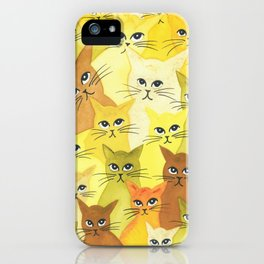 Golden Whimsical Cats iPhone Case