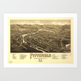 Aerial View of Pittsfield, New Hampshire (1884) Art Print