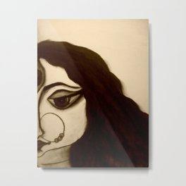 Goddess Durga in charcoal Metal Print
