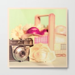 Film Camera and Rose (Retro and Vintage Still Life Photography)  Metal Print