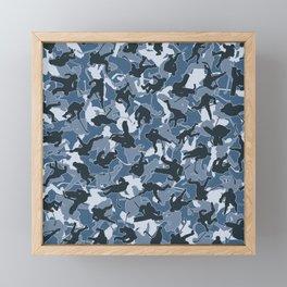 Ice Hockey Player Camo URBAN BLUE Framed Mini Art Print