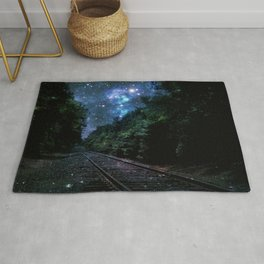 Train Tracks : Next Stop Anywhere Blue Side View Rug