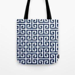 Dark Navy Blue and White Greek Key Pattern Tote Bag