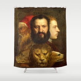 Titian The Allegory of Prudence Shower Curtain