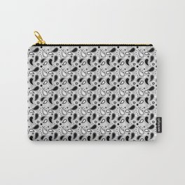 Small Black and White Paisley Pattern Carry-All Pouch