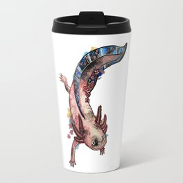 Cherry Blossom Axolotl Watercolor Artwork Travel Mug