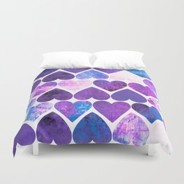 Mod Purple & Blue Grungy Hearts Design Duvet Cover