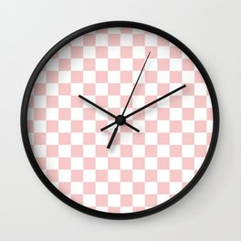 Gingham Pink Blush Rose Quartz Checked Pattern Wall Clock