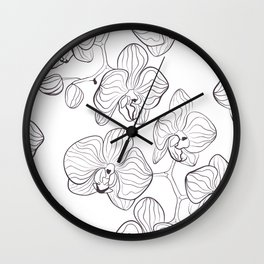 The White Orchid. Black and white pattern . Wall Clock