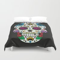 sugar skull Duvet Covers featuring Sugar skull by very giorgious