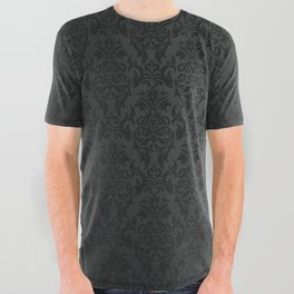 Luxury Black Damask All Over Graphic Tee