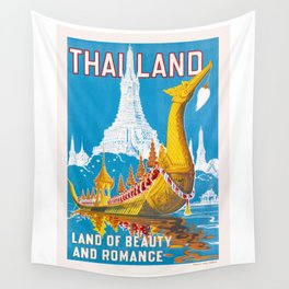 1950 Thailand Royal Barge Travel Poster Wall Tapestry