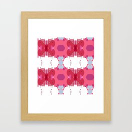 Abstract geometric pattern. Pink and white geometric texture Framed Art Print
