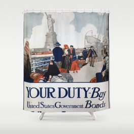 Vintage poster - Statue of Liberty Shower Curtain
