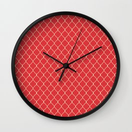 Quatrefoil Poppy Red Coconut Cream Moroccan Ogee Wall Clock