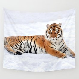 Awesomely Amazing Noble Tiger Relaxing In Snow Close Up Ultra HD Wall Tapestry