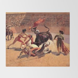 "Frederic Remington Western Art ""Bullfight in Mexico"" Throw Blanket"