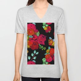 Watercolor Bouquet Floral in Black + Red Unisex V-Neck