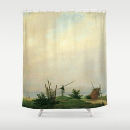 Caspar David Friedrich - Seashore with fisherman Shower Curtain