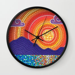 Elegant Sunset over Mountains Wall Clock