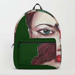 Girls in Green with the leaf in her face: love and happiness Backpack