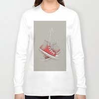 sneakers Long Sleeve T-shirts featuring red sneakers by Old Landscape