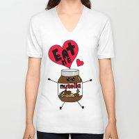 nutella V-neck T-shirts featuring Nutella by Aurelie