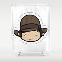 indiana jones Shower Curtains featuring Hello Indiana Jones !! Kawaii Cuteness! by Aimee Liwag
