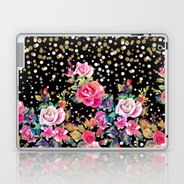 Modern watercolor spring floral and gold dots pattern Laptop & iPad Skin