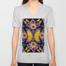 GOLDEN BUTTERFLIES PURPLE PANSIES BLACK DESIGN Unisex V-Neck