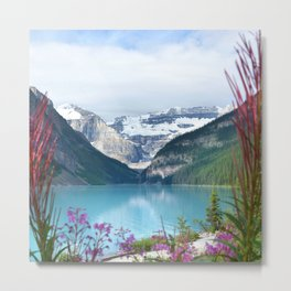 View of the Lake Louise with flowers Metal Print