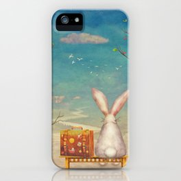 Sad rabbit  with suitcase sitting on the bench on the cloud in sky  iPhone Case