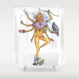 Modern Goddess Tools - Sexy Eight Armed Blonde Shower Curtain