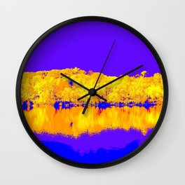 Autumn Reflections In Blue and Gold Wall Clock