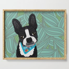 Tropical Boston Terrier Boy Serving Tray