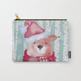 Winter Woodland Friends Cute Bear Snowy Forest Illustration Carry-All Pouch