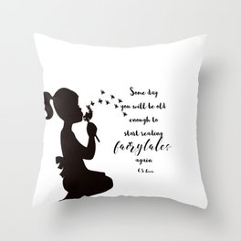 Reading Fairytales, CS Lewis Quote Throw Pillow