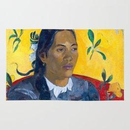 "Paul Gauguin ""Tahitian Woman with a Flower (Vahine no te tiare)"" Rug"