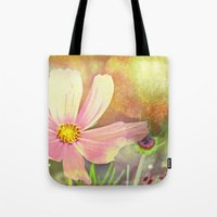 cosmos Tote Bags featuring Cosmos by V. Sanderson / Chickens in the Trees