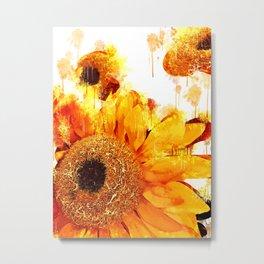 Sunflower Watercolor Portrait Metal Print