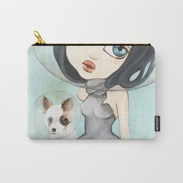 Space Exploration with Dog Big Eye Art Carry-All Pouch