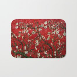 Abstract Daisy With Red Background Bath Mat