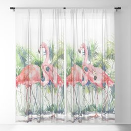 Flamingo Flamingos and Papyrus, flamingo lover pink green art Sheer Curtain