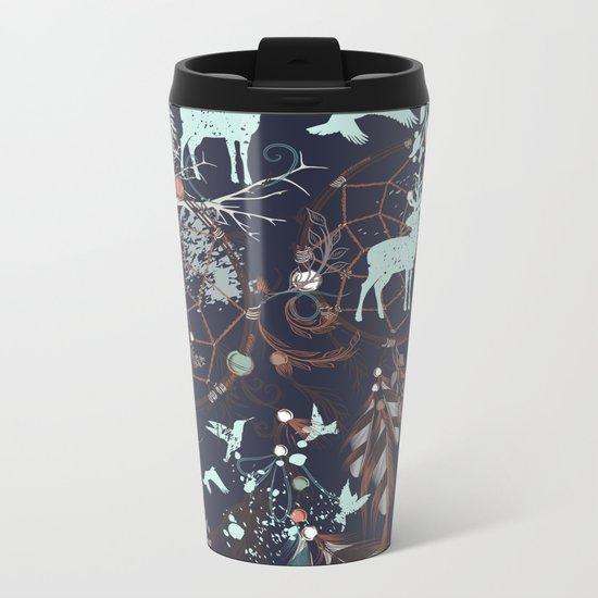Boho Pattern - deer Metal Travel Mug