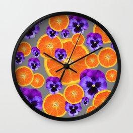 ORANGE SLICES & PURPLE PANSIES MODERN ART Wall Clock