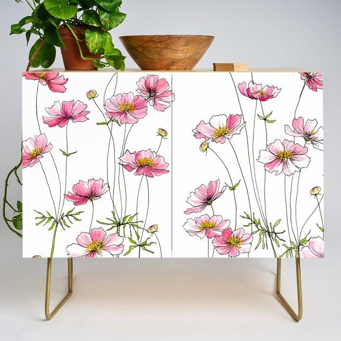 Pink Cosmos Flowers Credenza