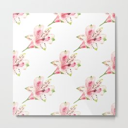 Seamless pattern with watercolor flowers on white background. Metal Print