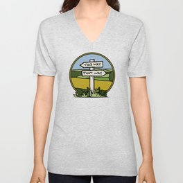 Signpost at a crossroads Unisex V-Neck