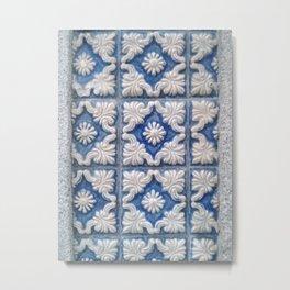 Porto Blue Tiles IV Metal Print